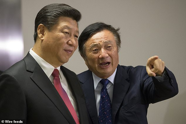 Purdy, who previously worked in the U.S. Homeland Security Department, has been branded a 'traitor' for his move to the company as their U.S. spokesperson (pictured Ren Zhengfei right)