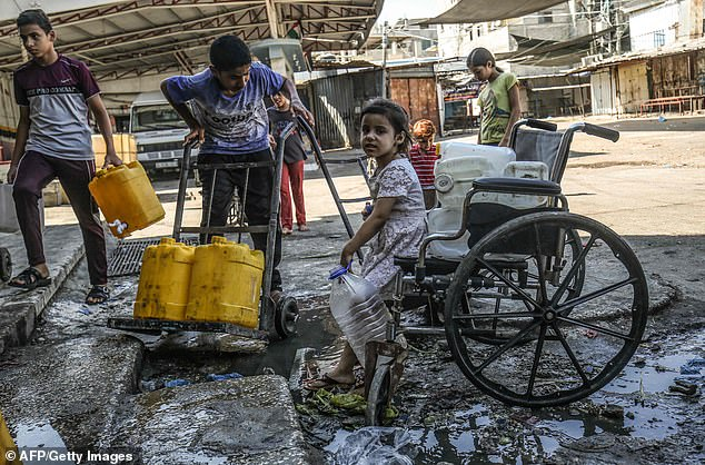 Fortunately for Britons, they do not have to worry about accessing a supply of fresh water, unlike these children in Rafah, on the southern Gaza Stip who use public stand pipes