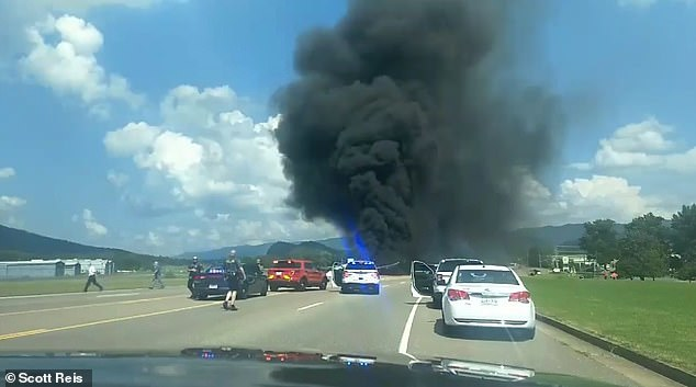 The Cessna Citation Latitude careened off the runway, through a chain-link fence and onto a local highway after catching fire upon landing at Elizabethton Municipal Airport