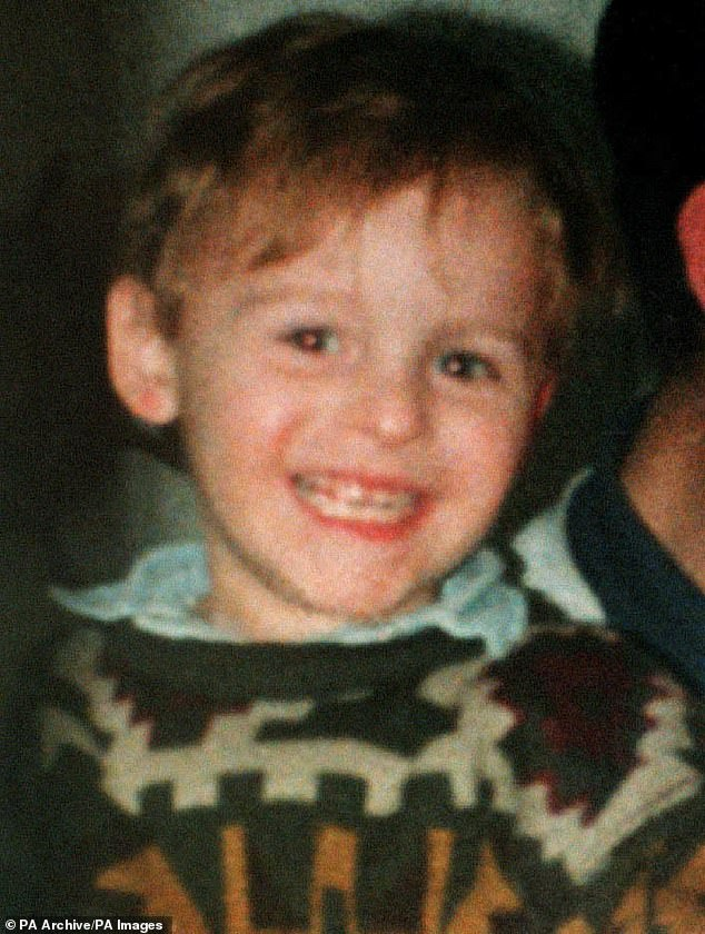 In 1993, Venables, 10, kidnapped James (pictured) from a Bootle Mall in Merseyside, before torturing him to death.