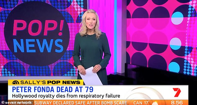 Whoops! Newsreader Sally Bowrey (pictured) was forced to apologise after accidentally claiming entertainment reporter Peter Ford had 'died' during Saturday's Weekend Sunrise