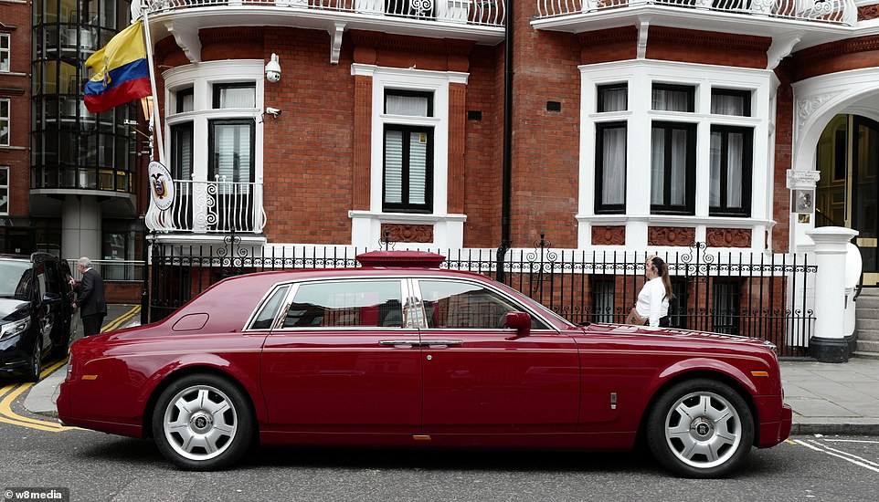 This supercar is parked outside the Ecuadorian embassy in Knightsbridge - former home of Wikileaks founder Julian Assange