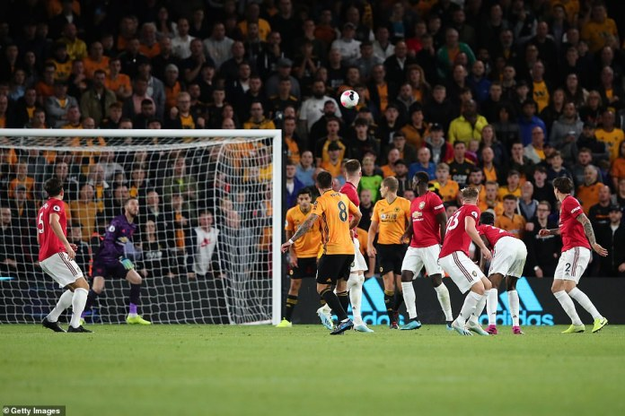 Neves takes aim from the edge of the box as United players desperately attempt to close him down in the second half