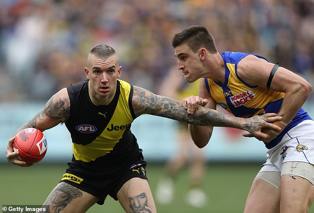 Dustin Martin has proven himself to be a comfortable operator in front of massive crowds on the football field