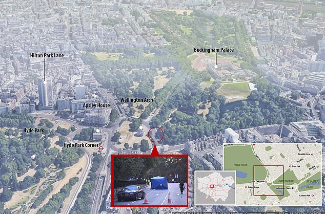 The location of the Rolls Royce accident at Hyde Park Corner in central London