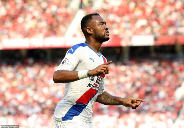 Jordan Ayew celebrates after giving Crystal Palace the lead against Manchester United at Old Trafford