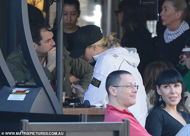 Quick bite: Sylvia and husband Peter (both pictured) were spotted later having a quick bite to eat at a local eatery in ritzy Double Bay