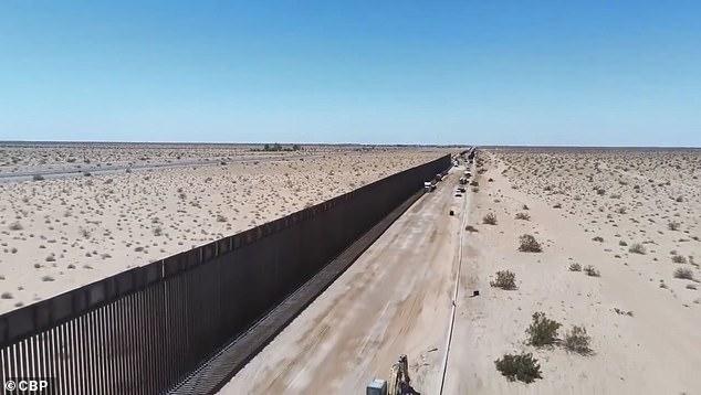The CBP showed this new section of steel bollard wall near San Luis, Arizona