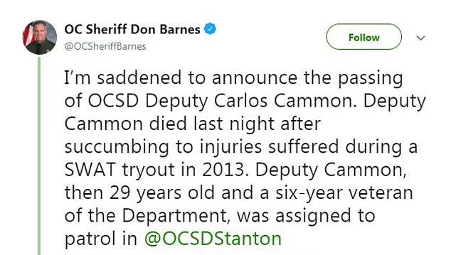 Orange County Sheriff Don Barnes revealed Cammon had died on Saturday