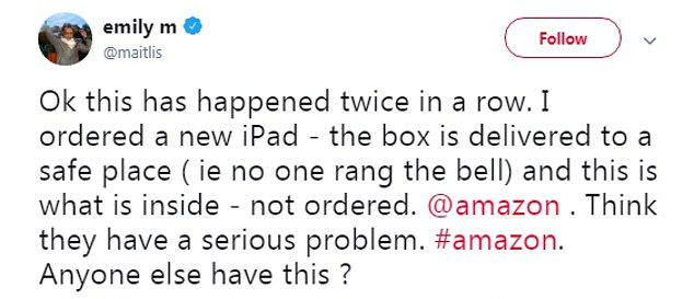 Newsnight presenter Emily Maitlis has hit out at online store Amazon for twice incorrectly delivering her different products to the ones she has ordered