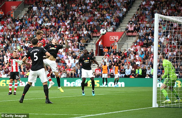 Victor Lindelof is beaten in the air by Jannik Vestergaard in United's draw at Southampton