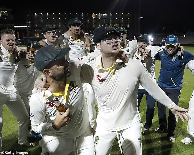 Smith cavorts with Nathan Lyon while wearing glasses as he mocks England's Jack Leach