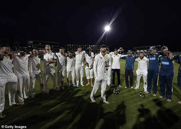 Their celebrations continued long into the night in Manchester with the series secured