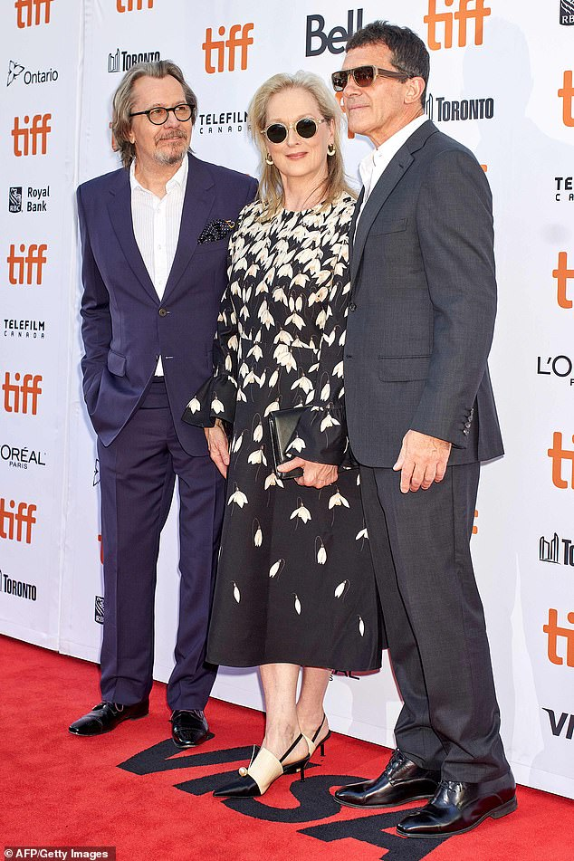 Reunited: Meryl Streep was joined by Gary Oldman and Antonio Banderas at a screening of their film The Laundromat at the Toronto International Film Festival on Monday