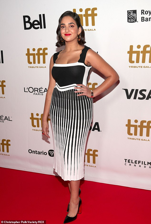 Black and white:Geraldine Viswanathan stuns in a black and white dress