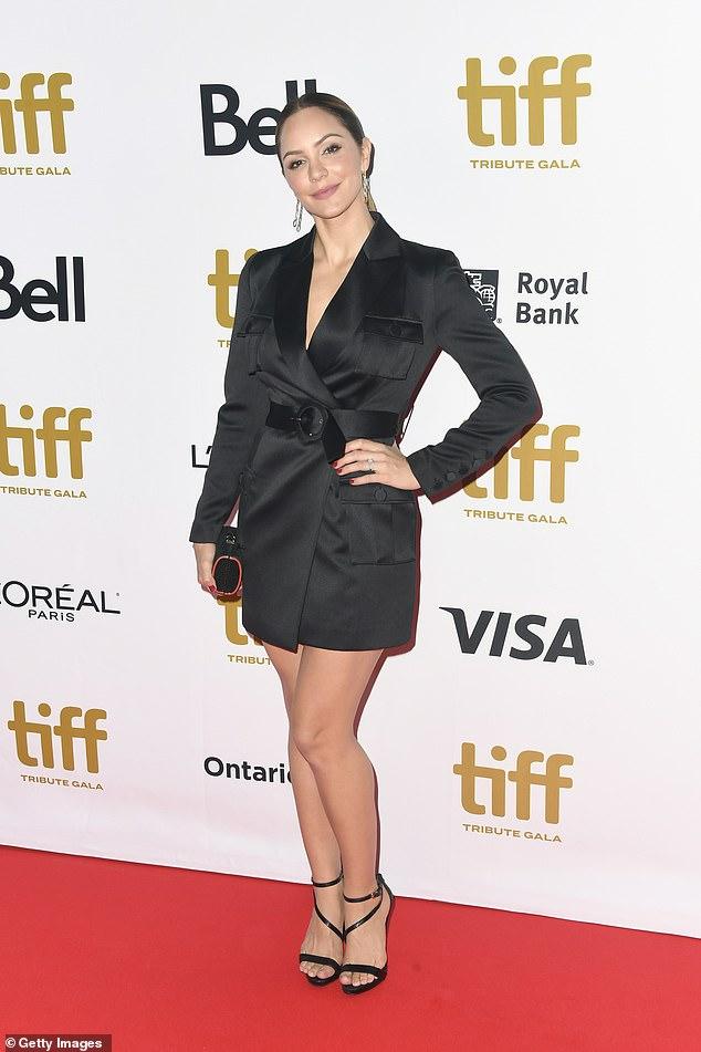 Katherine's look: Katherine McPhee rocks a belted blazer dress at the TIFF Tribute Gala