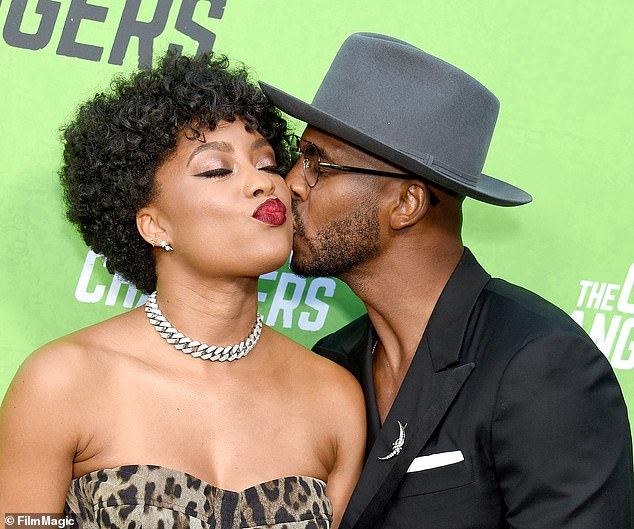 Support: Speaking at the premiere of documentary The Game Changers last Tuesday, Paul, 34 admitted he was hesitant to pose nude but was forced into it by his wife Jada (pictured)