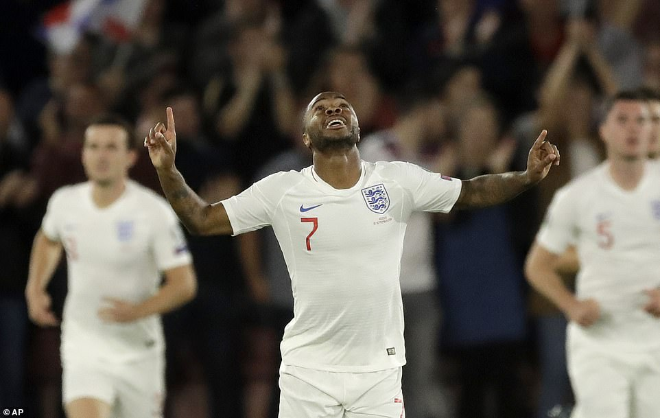 Sterling celebrates having equalised for England at St Mary's with a header in the eighth minute of the game