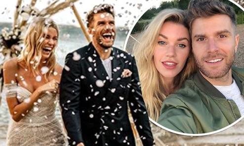 Image result for Comedian Joel Dommett marries Hannah Cooper in beach wedding