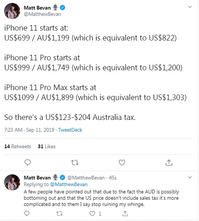 One man on Twitter claimed that Australians were paying more than Americans for the same product. He noted that at current exchange rates the prices seem more in Australia. But others pointed out the the US prices did not include sales tax. Once tax is included in the US price, the Australian models are around AU$50 more expensive than if you buy the phone in the US