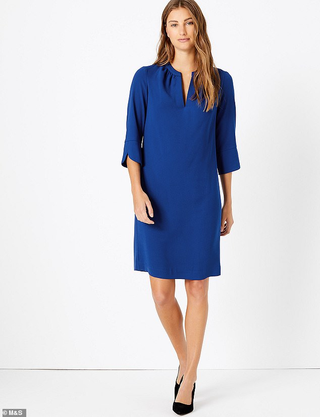The first pieces from the Duchess of Sussex's charity clothing range are available to buy online Among them is this £19.50 shift dress from M&S (pictured)