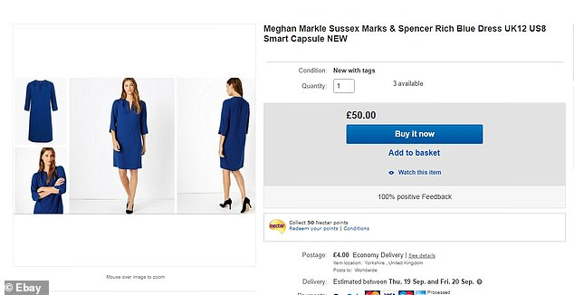 Elsewhere the £19.50 Marks & Spencer shift dress in is listed for more than twice the price at £50, both in blue and black