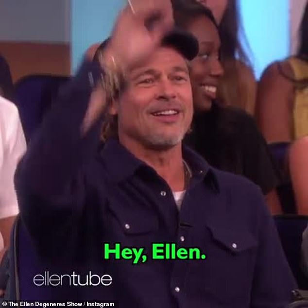 Superstar: Brad greeted the talk show host, 'Hey Ellen,' from the audience