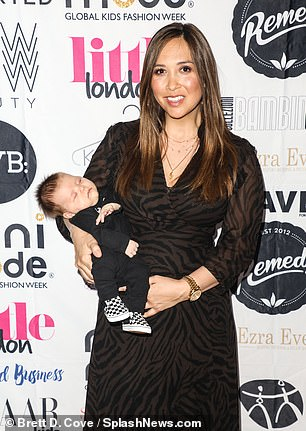 Glamorous: Myleene's brunette locks were brushed into a sleek, straight style to frame her face well, and she wore a light palette of make-up to highlight her pretty features