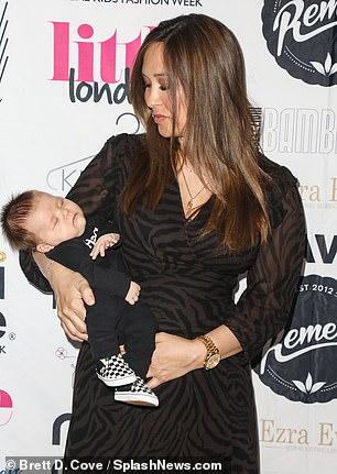 Smitten: Myleene gave her son a look of love as he slept