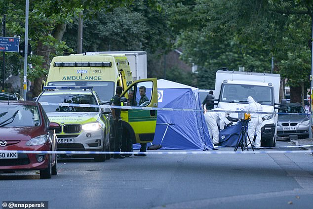 A blue tent is erected on the spot where Mr Teer was shot dead. The investigation was on-going and anyone with information has been urged to contact police