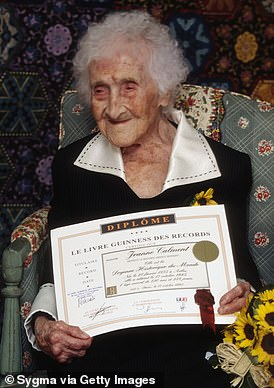 Jean Calment pictured with his Guinness World Record