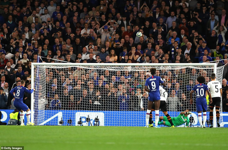 Ross Barkley sees his free-kick fly into the Stamford Bridge crowd after hitting the crossbar from the penalty spot
