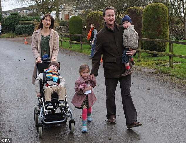 David and Samantha Cameron near their Oxfordshire home in 2007, with their children Ivan (left), Nancy (centre) and Elwen (right)