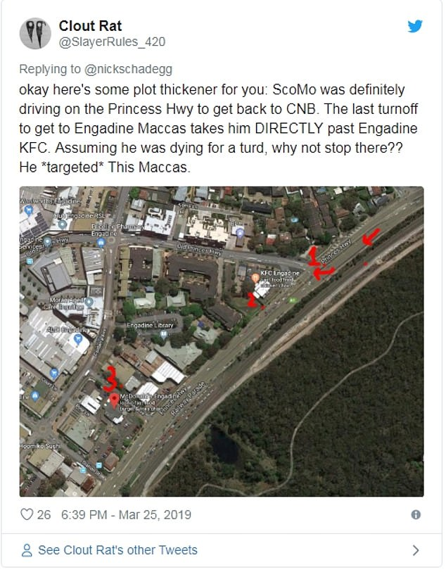 Pictured: An analysis by a determined Twitter user who believes Mr Morrison 'targeted' the Engadine McDonald's after the game in 1997