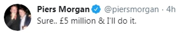 Demands:The presenter, 54, took to Twitter over the Geordie duo's claims in September as he tweeted: 'Sure.. £5 million & I'll do it.'