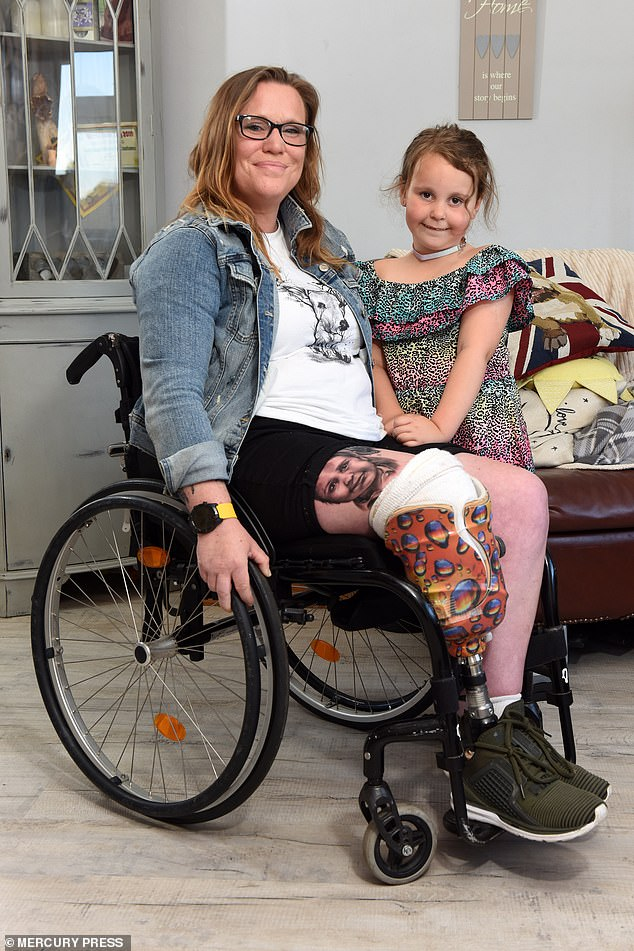 The former police and council CCTV worker must now rely on a prosthetic leg and wheelchair to get around, which has been life-changing for her and her daughter, Gia, six