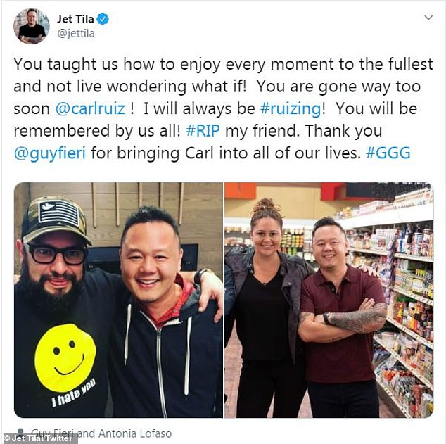 Another sweet note: Fieri is not the only chef who paid tribute to Ruiz. Jet Tila of Chopped, Cutthroat Kitchen and Guy's Grocery Games fame, said, 'You taught us how to enjoy every moment to the fullest and not live wondering what if!'