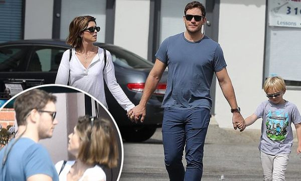 Chris Pratt walks with wife Katherine Schwarzenegger and son Jack