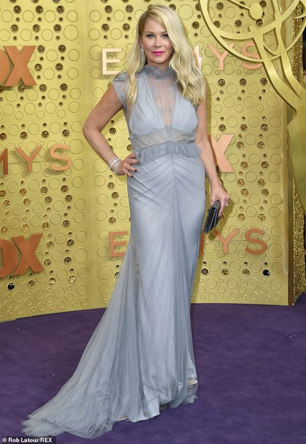 Christina Applegate is a sheer delight in grey gown at Emmys