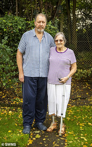 The great grandmother is pictured with her husband Richard, who took her to hospital