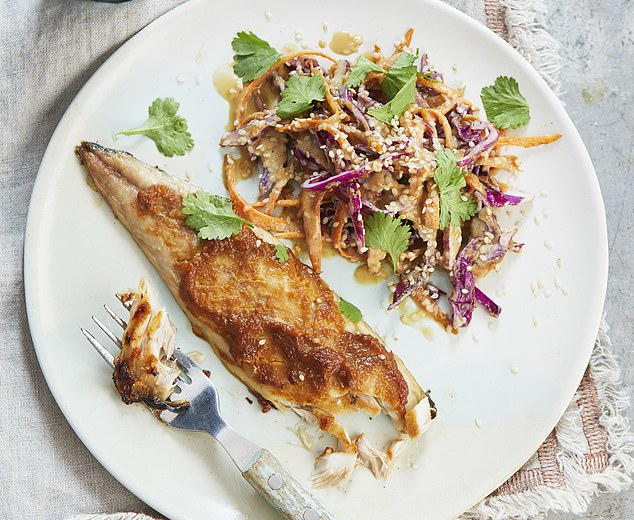 Miso covered mackerel with sesame slaw