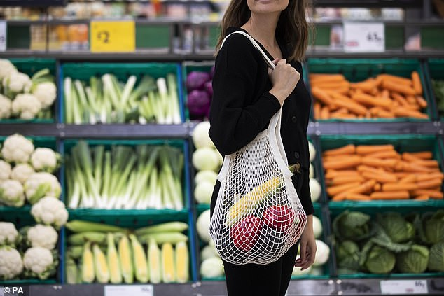 Most adults call themselves 'ethical shoppers' and 56 per cent use less plastic bags (pictured is a reusable string bag which has launched at Morrisons)