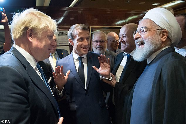 Mr Johnson and President Rouhani again at the UN General Assembly in New York on Tuesday. Tensions between the two countries have been high over recent months with both countries having commandeered each other's ships in the Strait of Hormuz