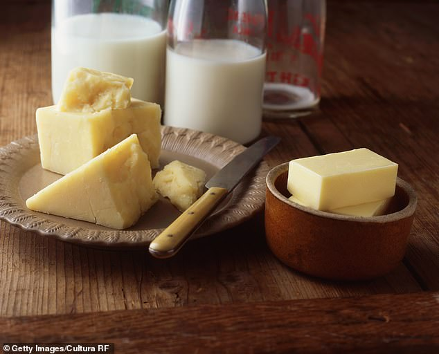 Dairy can cause bloating and sluggishness, so Ms Allen recommends reducing your intake and switching to dairy-free alternatives like almond milk and cashew cheese (stock image)