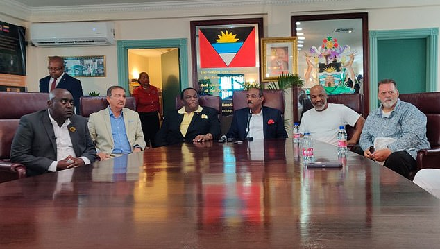 Mike Tyson (second from right) alongside the Prime Minister (centre) and officials from Antigua and Barbuda to announce plans for 'the Davos of Cannabis'