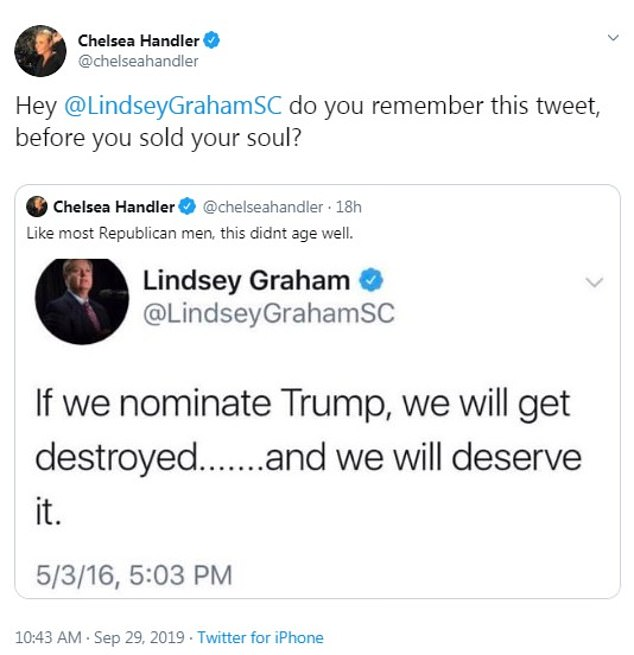 As he upped his defense of the president, Twitter recirculated a 2016 tweet where Graham said if Trump became the Republican nominee the party would 'deserve' to 'get destroyed'