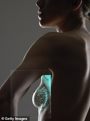 The laser surgery involved inserting a fine, hollow needle through the breast tissue into the tumour. A probe was then fed through the needle and a hot laser beam destroyed the tumour (file picture)