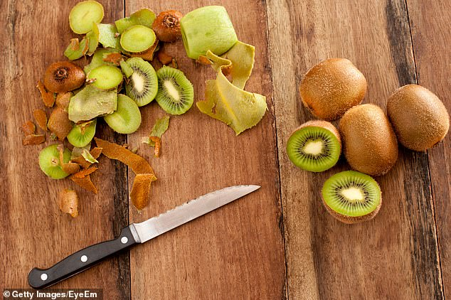 Eating the skin of a kiwi can increase its fibre content by 50 per cent, boost folate by 32 per cent and raise vitamin E concentration by 34 per cent (stock image)