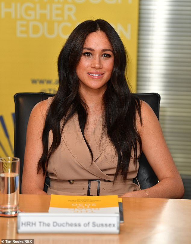 The Duchess of Sussex's locks looked like they had extra shine as she attended academics and students during a discussion on women's access to higher education today