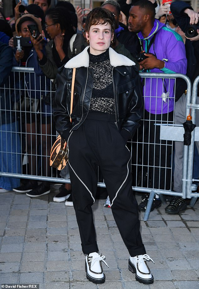 Songstress: Christine and the Queens looked typically edgy as she arrived